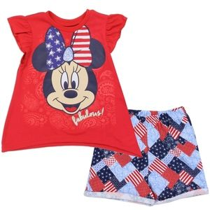 🎁Disney Minnie Mouse America Girl's Tee&Short Set